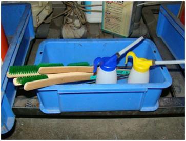 床磨き用具の定置管理