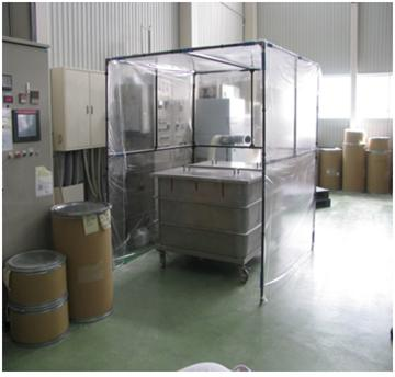 製品充填時に飛散する粉塵の拡散防止