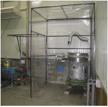 製品の篩がけおよび充填作業時の微粉飛散防止