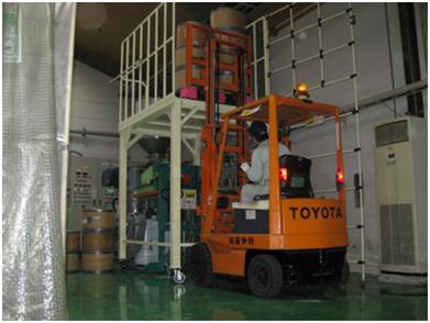 高所架台への原料搬入作業