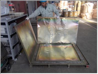鉄カゴ収納作業